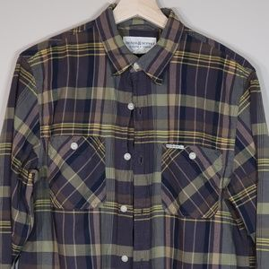 Plaid Olive Long-Sleeve Button-Up Shirt